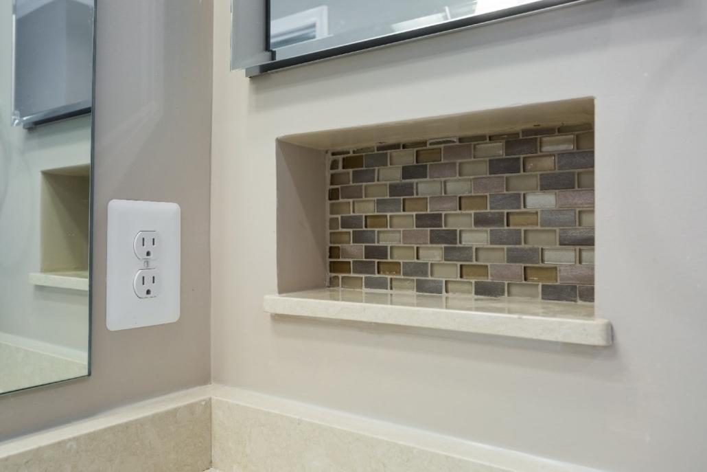 Woodbridge Master Bath Remodel with recessed niche using Conestoga PaMarVa mosaic accent tile