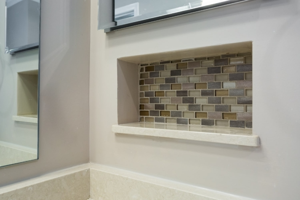 Aging in Place Bathroom Remodel Woodbridge with recessed niche and Conestoga tile