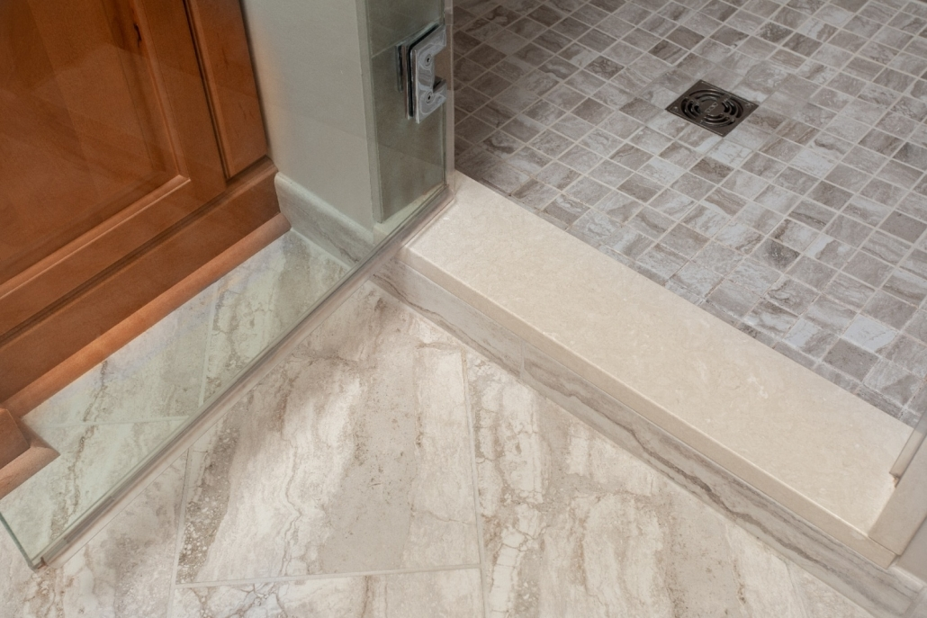 Aging in Place Bathroom Remodel Woodbridge with 4x36 Monterosa Botticino Marble threshold
