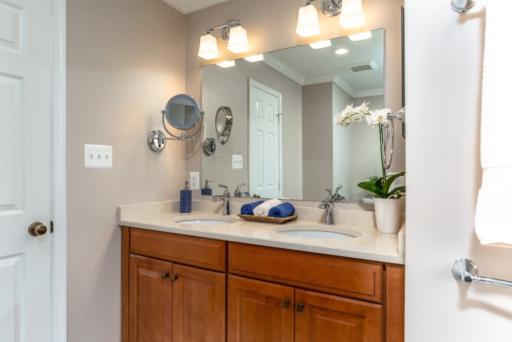 Master Bathroom Remodel Woodbridge with Waypoint cabinets in Maple with Spice stain, Cambria countertops and Chrome faucets