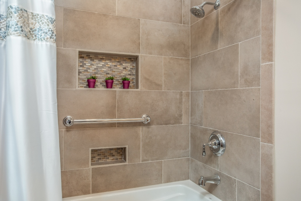 Woodbridge Hall Bathroom Remodel with recessed niche with MSI Capella Sand tile walls
