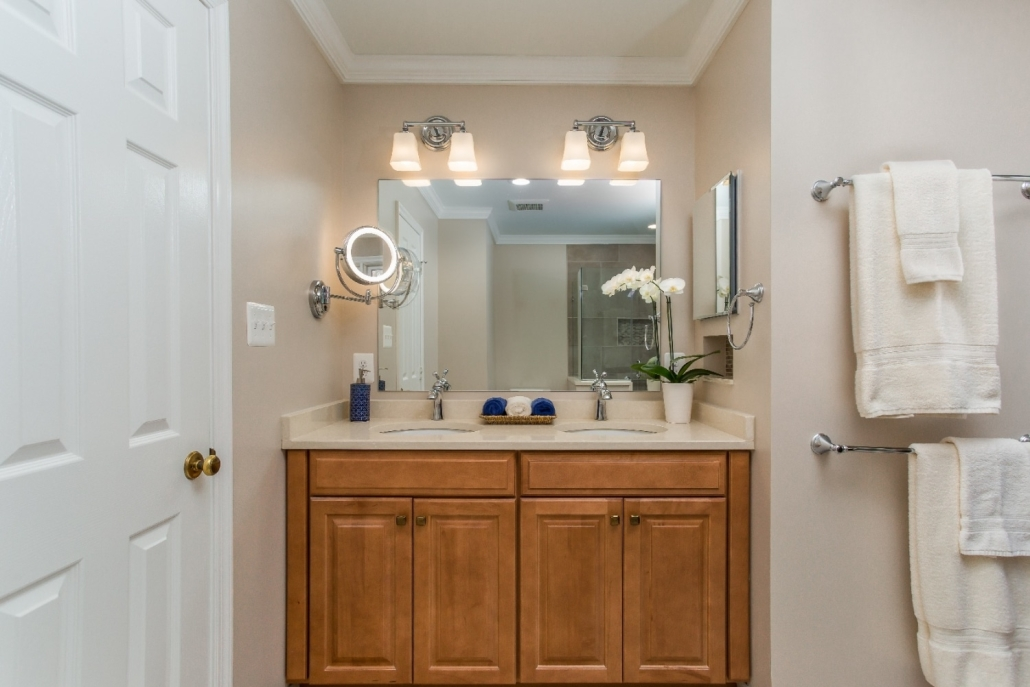 Aging in Place Bathroom Remodel Woodbridge with Waypoint cabinets in double bowl vanity