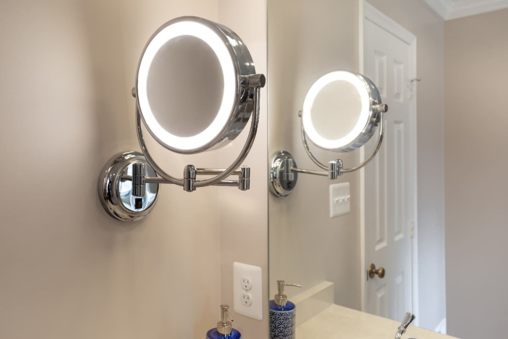 Aging in Place Bathroom Remodel Woodbridge featuring double sided LED polished chrome make-up mirror
