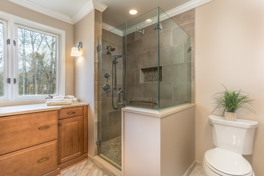 Aging in Place Bathroom Remodel Woodbridge, VA with Century Glasstec clear glass shower with frameless hinged door