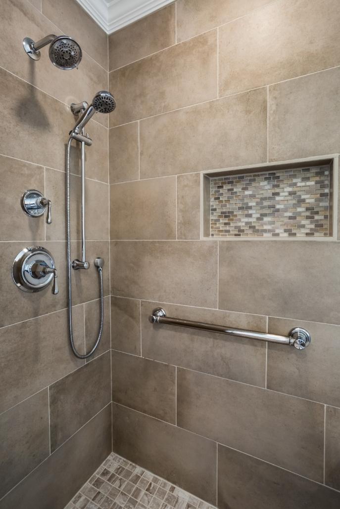 Woodbridge Master Bathroom Remodel with MSI Capella Sand tile walls and tile floor in MSI Bernini Bianco