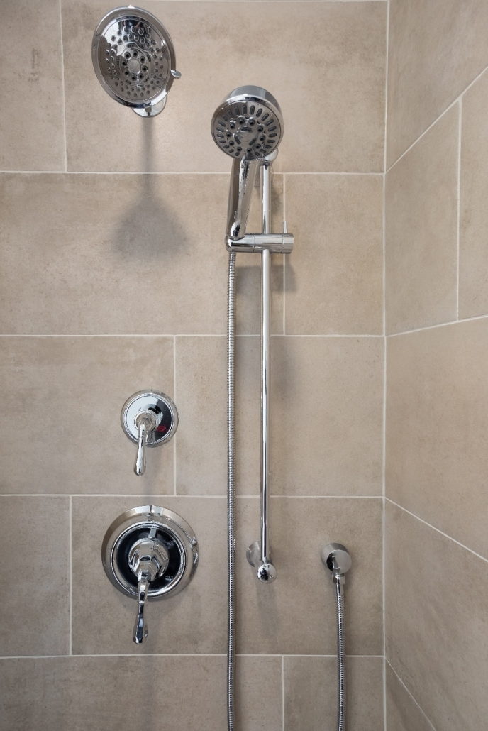 Aging in Place Bathroom Remodel Woodbridge featuring Mirabelle Key West polished chrome shower accessories