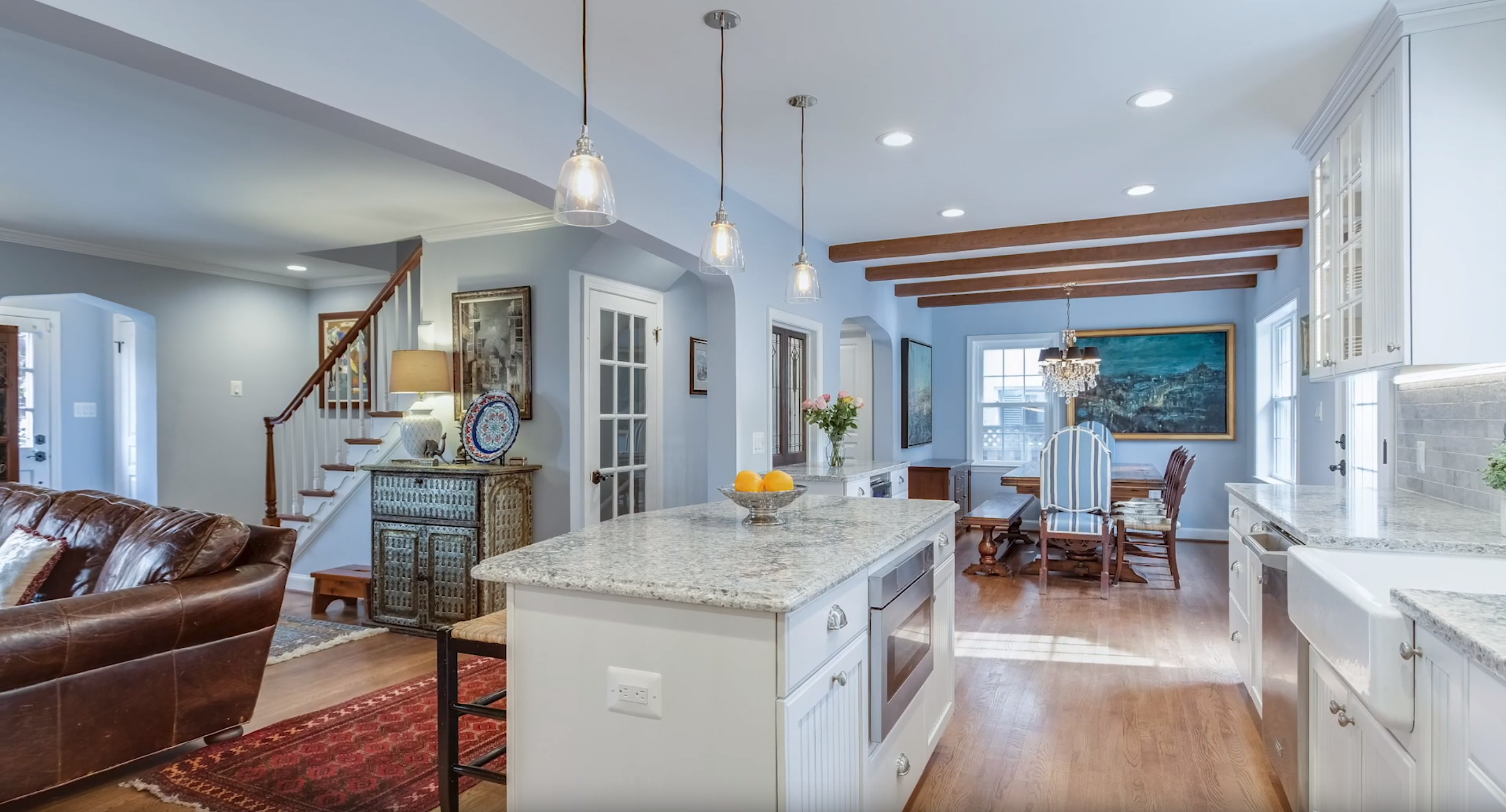 kitchen remodeling in Alexandria VA featuring custom island with Crystal Current cabinets