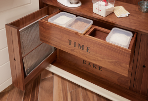 organized cabinets with baking containers