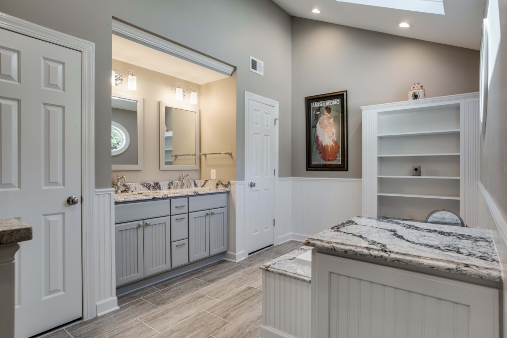 Fairfax Station Master Bath Remodel featuring Cambria countertops and Crystal Current cabinets