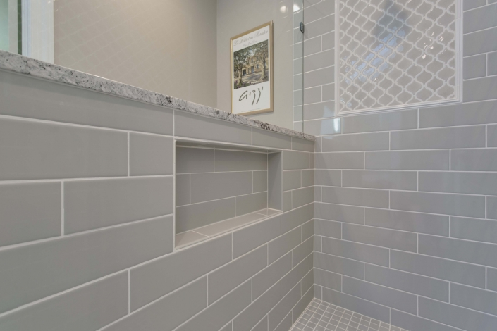 Fairfax Station Master Bath Remodel using Dal Tile Elevare 4x16 glass tile for niche