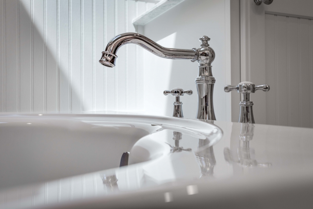 Fairfax Station Master Bath Remodel with Moen Weymouth Roman Tub faucet with Double Cross handles in Polished Chrome