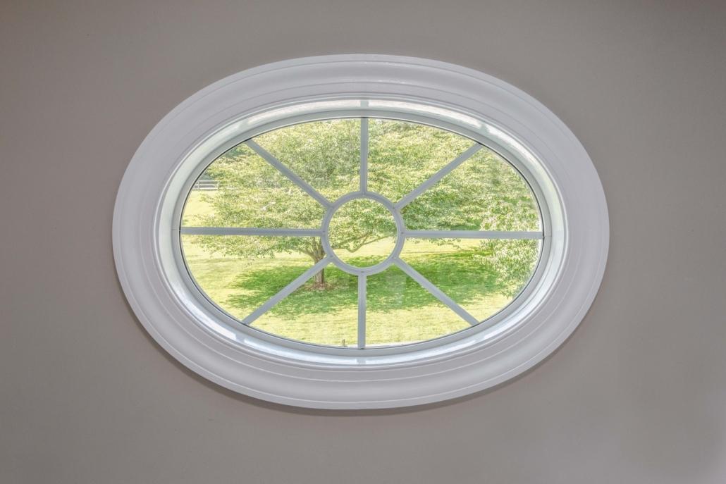 Fairfax Station Master Bath Remodel full frame Oval window with 8 spoke oval grid