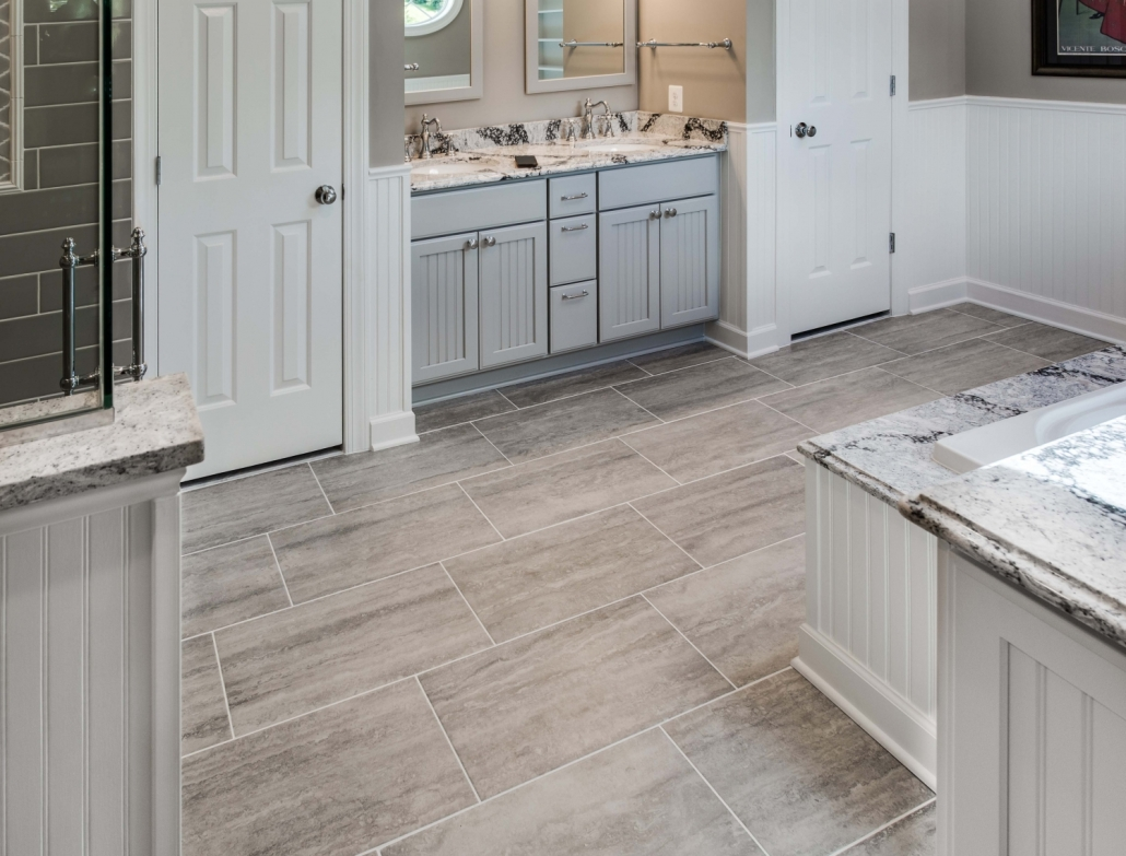 Fairfax Station Master Bath Remodel with Crystal Current vanity and MSI Veneto Gray wide plank tile floors