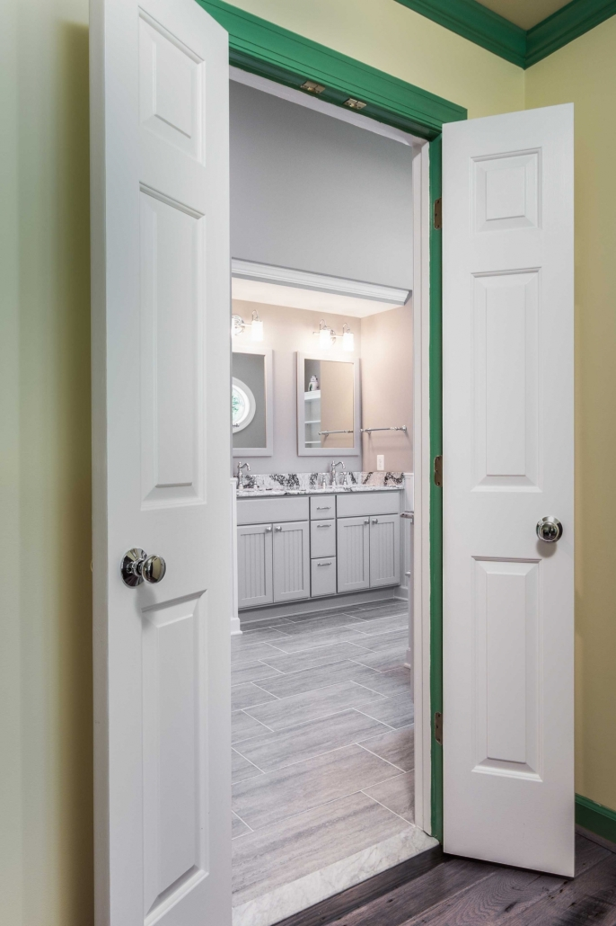 Fairfax Station Master Bath Remodel with double door entry and Creative Specialty hardware
