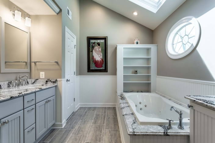 Fairfax Station Master Bath Remodel using 12x24 MSI Veneto Gray tile flooring