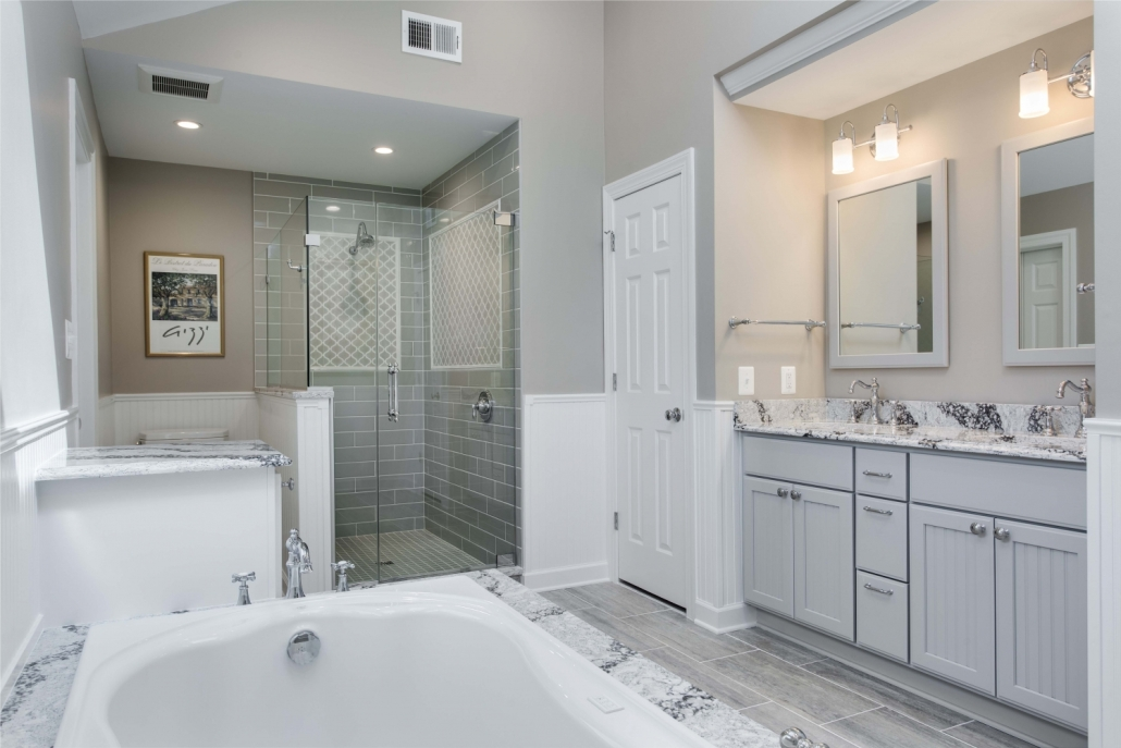 Fairfax Station Master Bath Remodel using Cambria Seagrove countertops and tub deck, Crystal Current cabinets