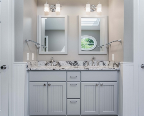 Fairfax Station Master Bath Remodel with Crystal Current cabinets in Shoreview style painted Gray and Cambria Seagrove vanity top