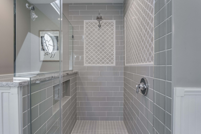 Fairfax Station Master Bath Remodel shower with Dal Tile Elevare 4x16 glass tile and Arabesque Feature in Morning Fog