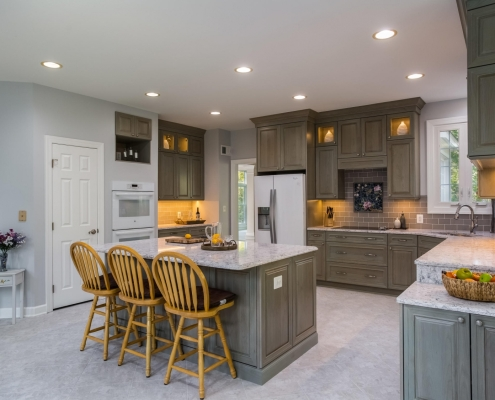 Springfield Kitchen Remodel with glass tile backsplash in Neopolis with Sea glass mosaic