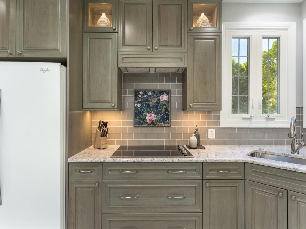 Springfield Kitchen Remodel Crystal Encore cabinets with Catalina door style and Top Knobs Charlotte pulls