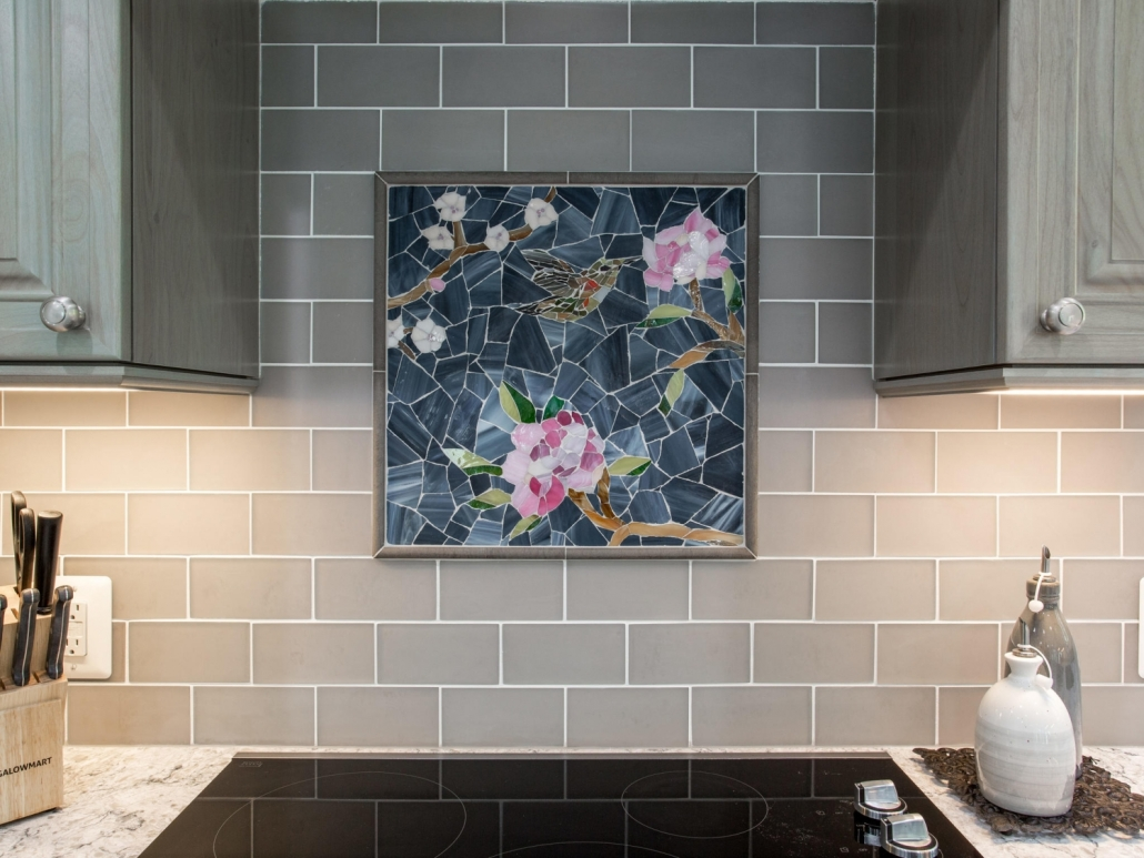 Springfield Kitchen Remodel New Ravenna Sea glass mosaic, pattern: Chinoiserie with Hummingbird