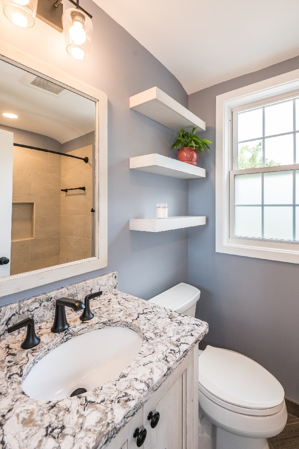 Arlington Bath remodel with floating shelves by Foster Remodeling