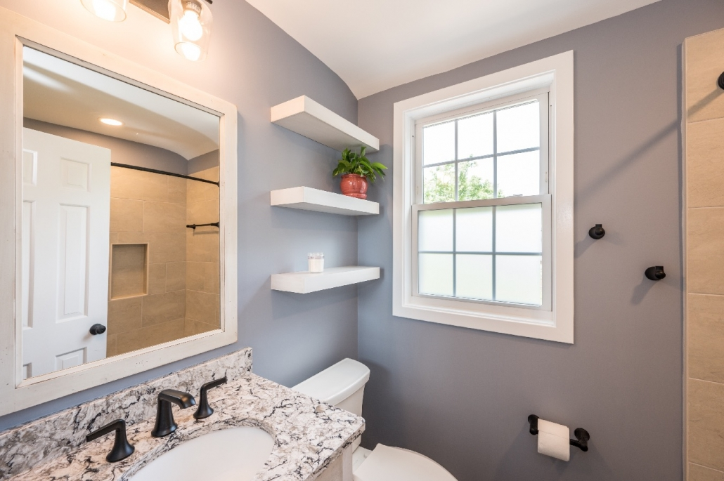 Arlington cozy bath remodel with floating shelves