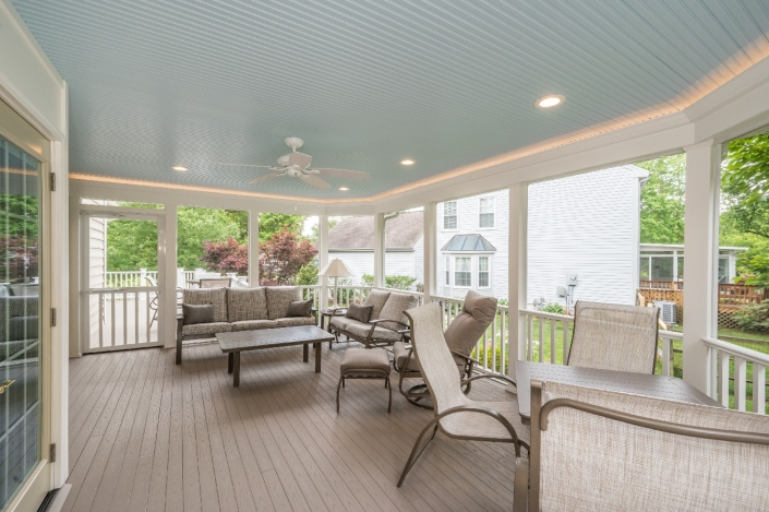 Centreville screen porch addition for outdoor living with lighting