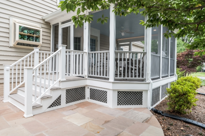 paver patio and new stairs leading to Centreville custom screen porch