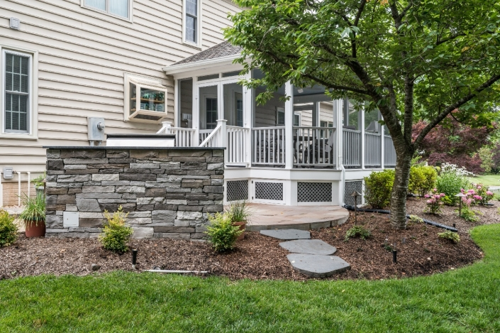 Centerville outdoor living screened porch with grilling patio