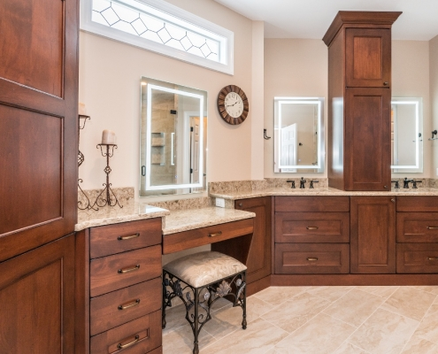 Haymarket traditional master bath remodel with quartz countertops