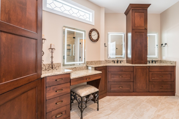 Haymarket traditional master bath remodel with quartz countertops