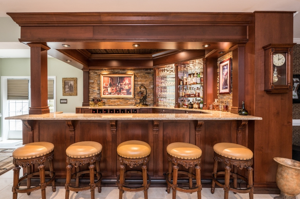 Ornate bar build in Haymarket, VA from Foster Remodeling