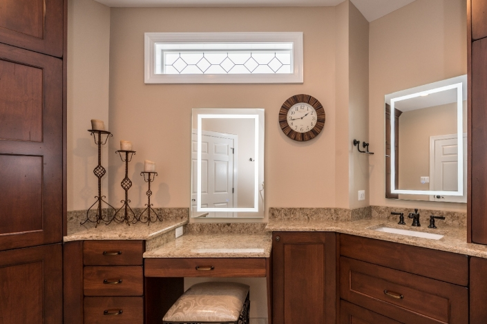 Luxurious master bath remodel with traditional finishes and oil rubbed bronze fixtures