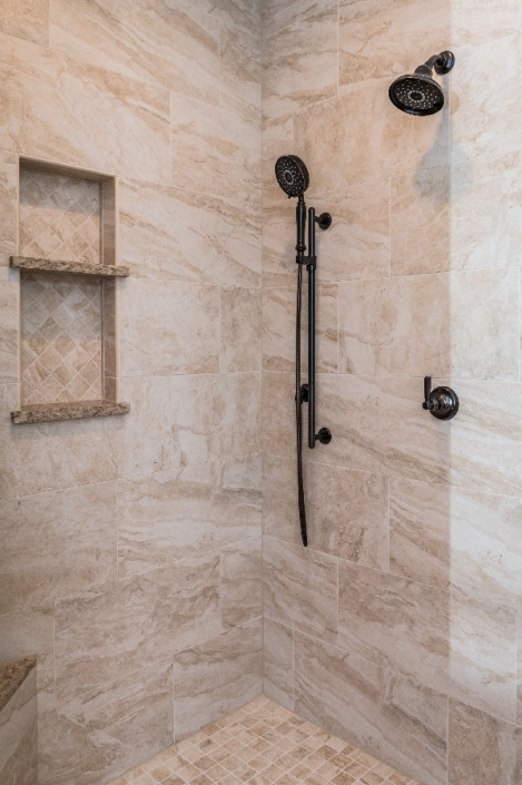 Master bath remodel custom shower enclosure with oil rubbed bronze fixtures