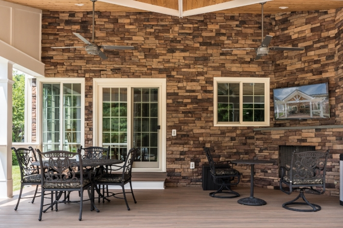 Brick outdoor patio with vaulted ceilings in Springfield