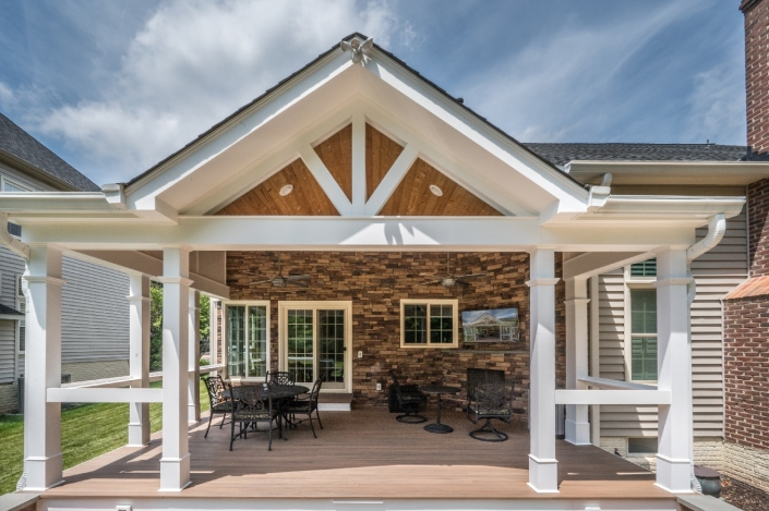 Outdoor patio addition in Springfield with sliding doors to inside