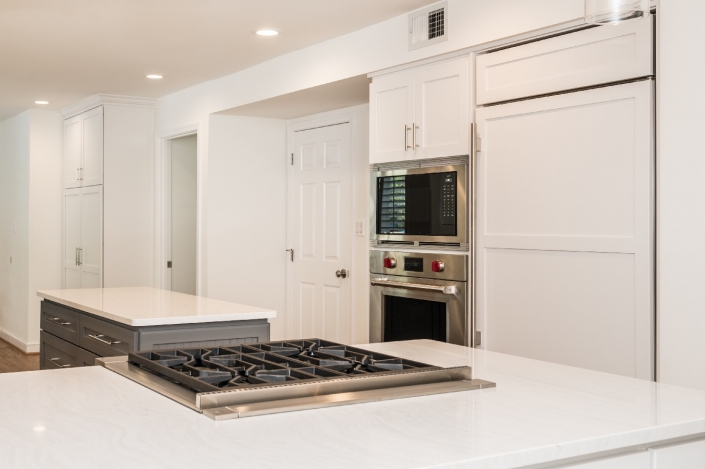 Custom contemporary kitchen remodel, Alexandria, VA with clean lines and white cabinetry