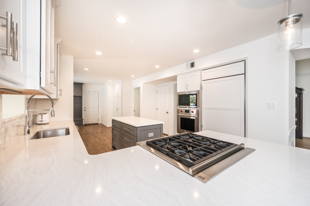Alexandria modern kitchen remodel with Cambria countertops and Crystal Keyline Island in gray