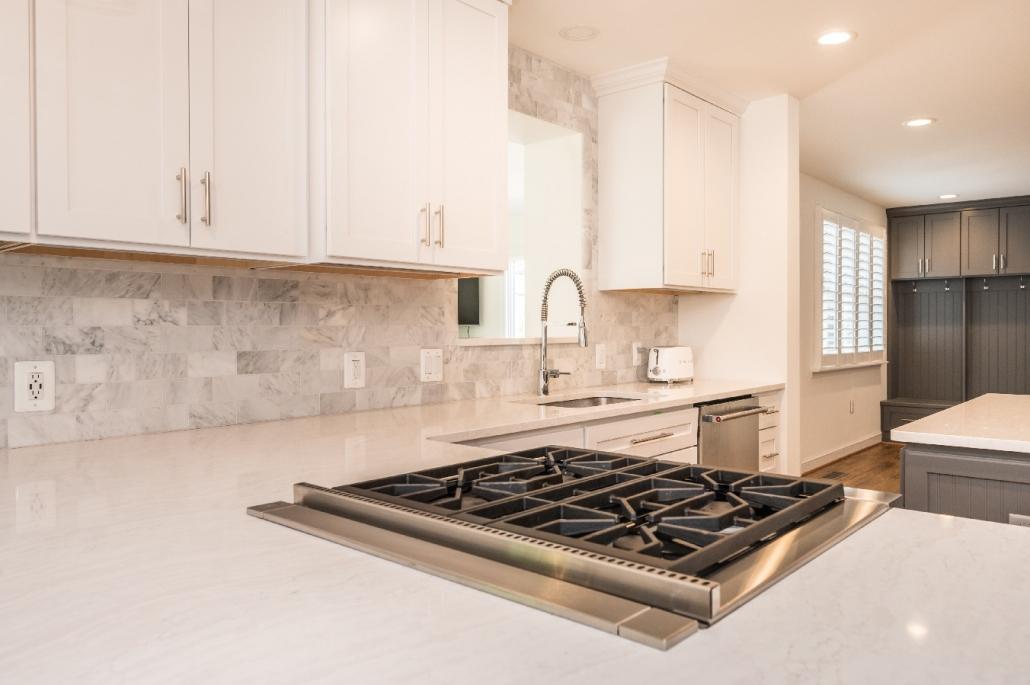 Custom kitchen remodel, Alexandria, VA with Crystal Current cabinets, Cambria countertops in Delgatie and natural stone backsplash in Venetian Calcutta