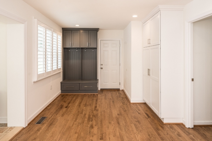 Alexandria, VA custom kitchen remodel with built in pantry cabinets and mudroom cabinetry in dark grey
