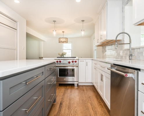 Alexandria kitchen remodel modern style with sleek Cambria countertops and Keyline island cabinetry