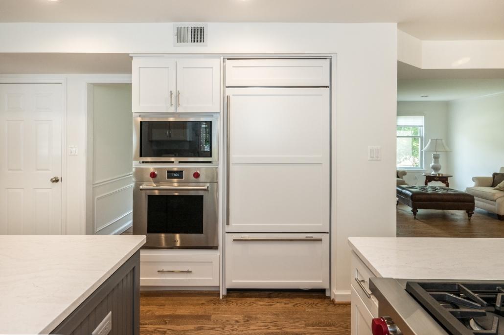 Contemporary Kitchen remodel Alexandria, VA with built in panel ready refridgerator