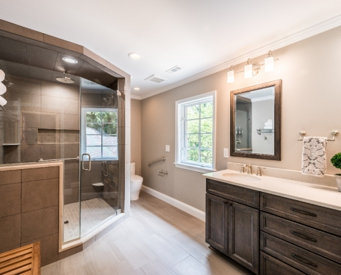 Alexandria master bath upgrade with large walk in shower and double vanity