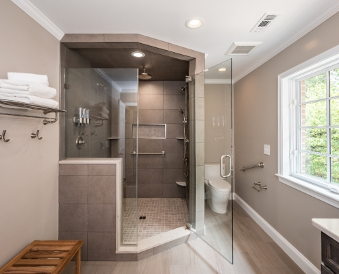 Bathroom remodel Alexandria, VA with large contemporary walk in shower