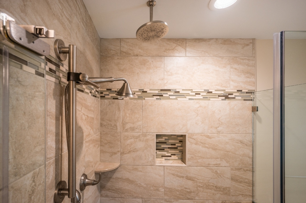 design build custom bath remodel fairfax station with glass listello and rain shower head