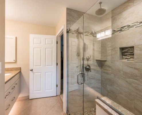 fairfax station custom bath remodel with floating vanity and under counter lighting
