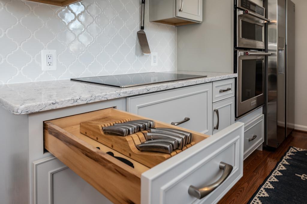 Alexandria, VA kitchen remodel, Waypoint custom cabinets with knife storage