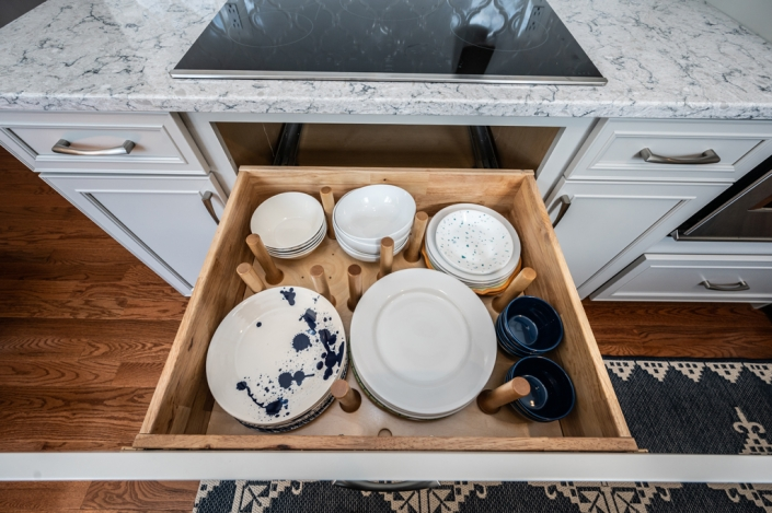 Foster remodeling solutions, kitchen remodel, Alexandria, VA custom cabinets with dinnerware storage