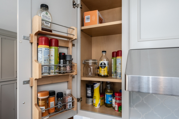Kitchen remodeling, Alexandria, VA Foster Remodeling Solutions, custom cabinets with spice storage racks